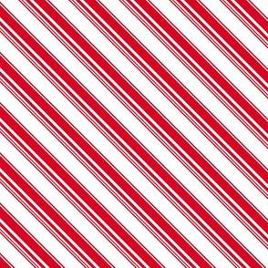 Christmas red candy cane diagonal stripes