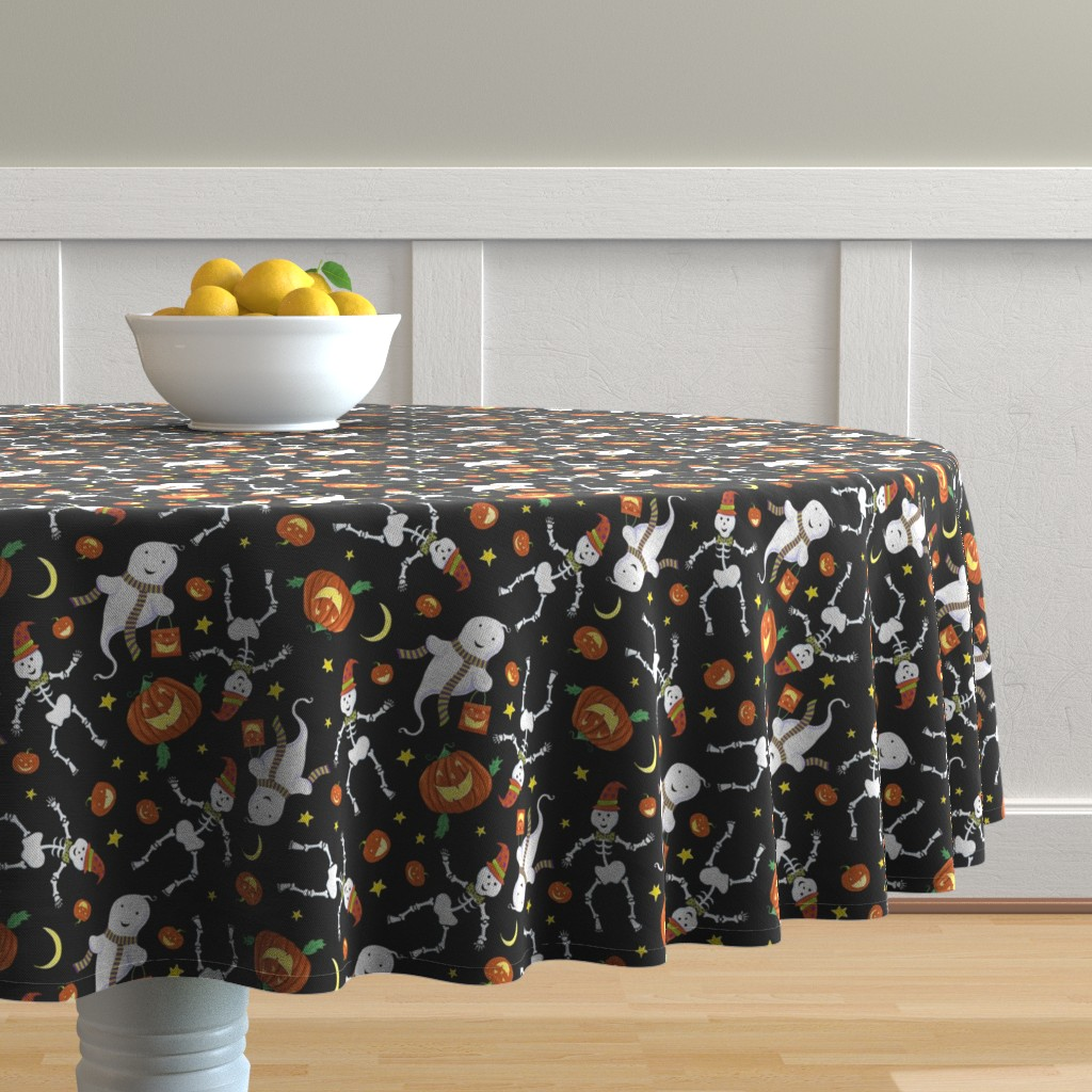 Malay Round Tablecloth featuring Halloween Characters by dalesimpsondesign