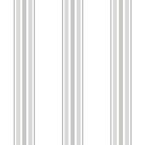 farmhouse ticking stripes in gray on white