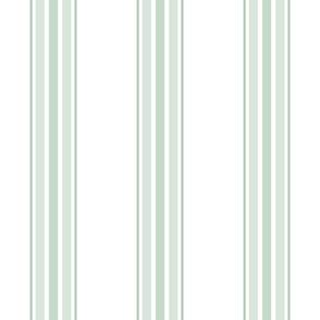 farmhouse ticking stripes in sage green on white