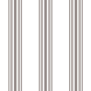 farmhouse ticking stripes in taupe and white