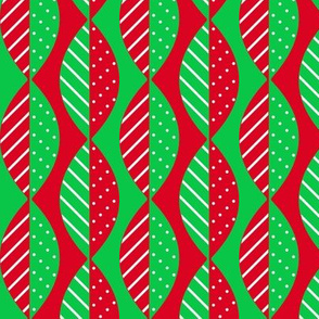 Christmas Mod Leaves in Red and Green