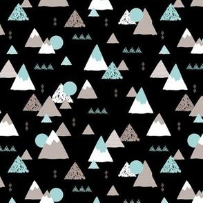 Geometric fuji japan mountain illustration winter woodland  black night