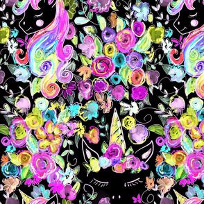 Rainbow Unicorns + Flowers // Black