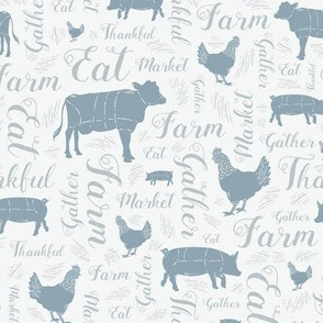 Cornflower Blue + Pewter Thankful Text and Farm Animals  // Chickens, Cows, and Pigs // Sing for Your Supper // Modern Farmhouse Collection