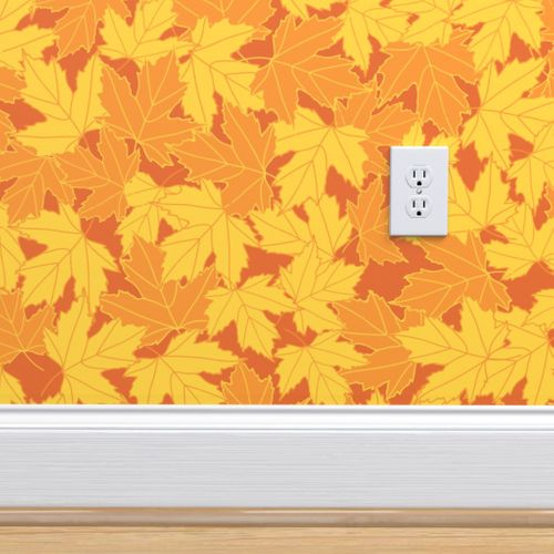 Wallpaper Fall Leaves Texture Seamless Repeat Pattern