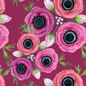 Fall Floral // Anemone Flowers // Burgundy Floral