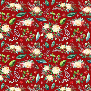 Christmas Floral 2 on Red 10x8""
