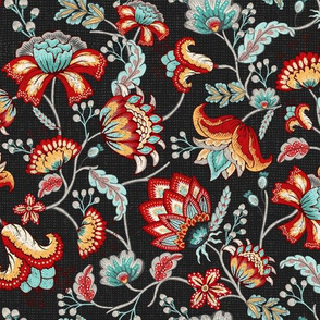 Red and Light Blue Indian Floral in Dark Gray