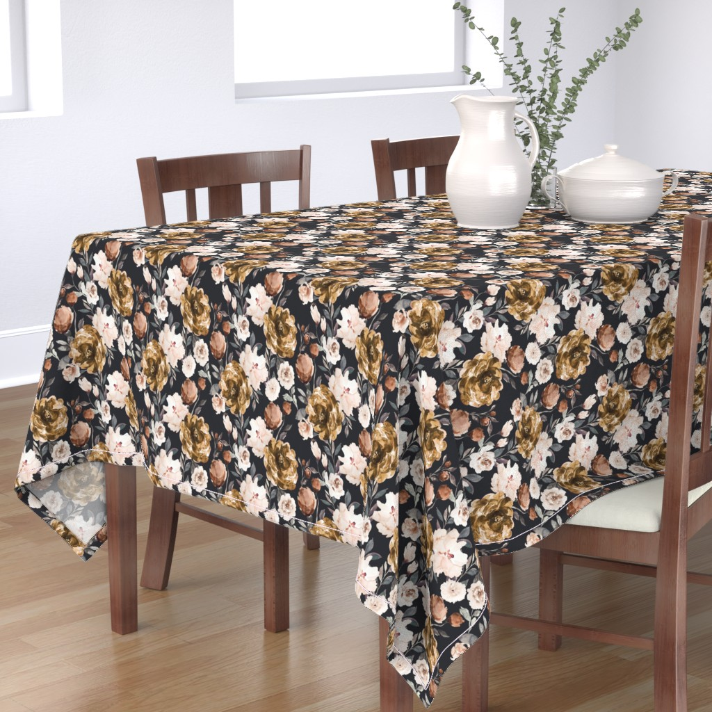 Bantam Rectangular Tablecloth featuring IBD Autumn Cocao Cream Peonies C by indybloomdesign
