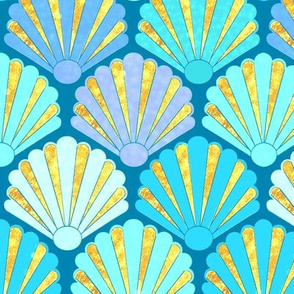Seashell, Art Deco Shell Fans in blue, teal, turquoise & gold fit for a mermaid!