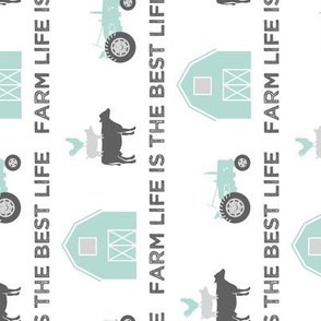 farm life is the best life - grey and dark mint farm collection (90) C18BS