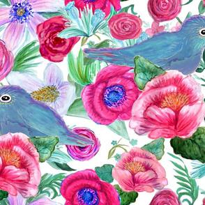 Peony bluebird Watercolor floral