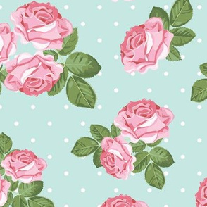 Blue Shabby Chic Pink Roses