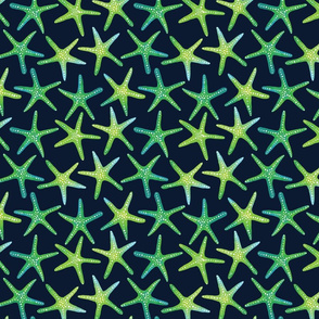 Lime N Aqua Starish On Navy Background