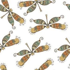 Blue N Copper Dragonfly Pattern