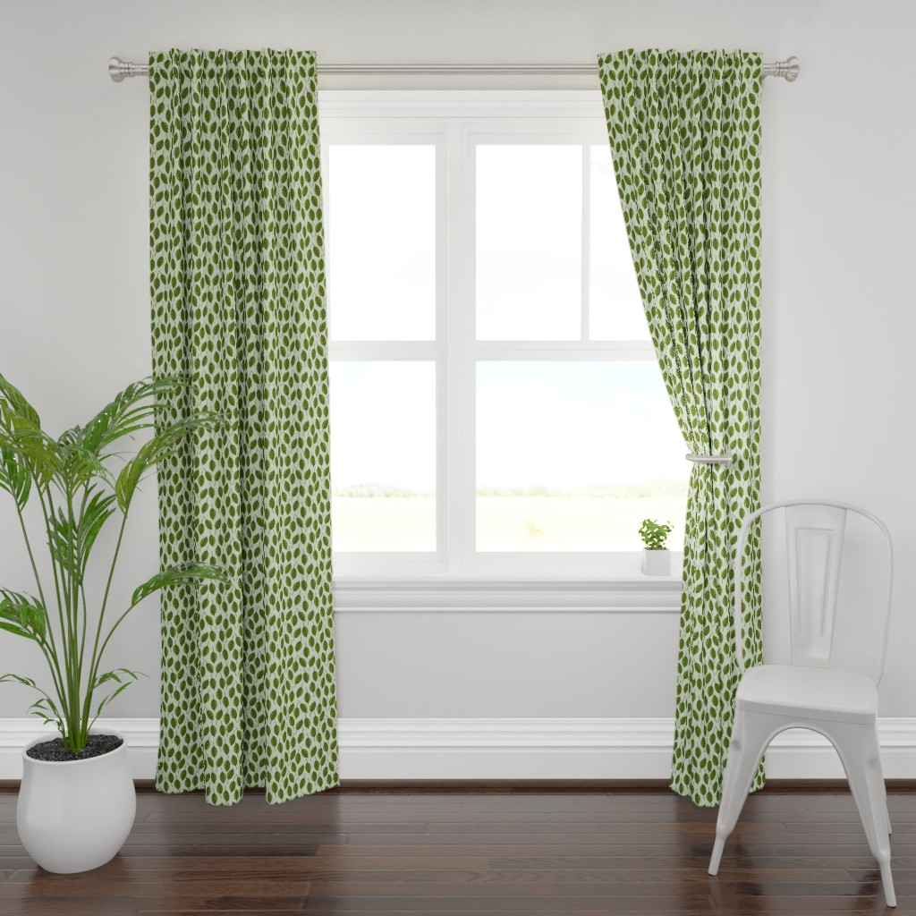 Plymouth Curtain Panel featuring Trendy Green Brown Leaf Pattern by gypsea_art_designs