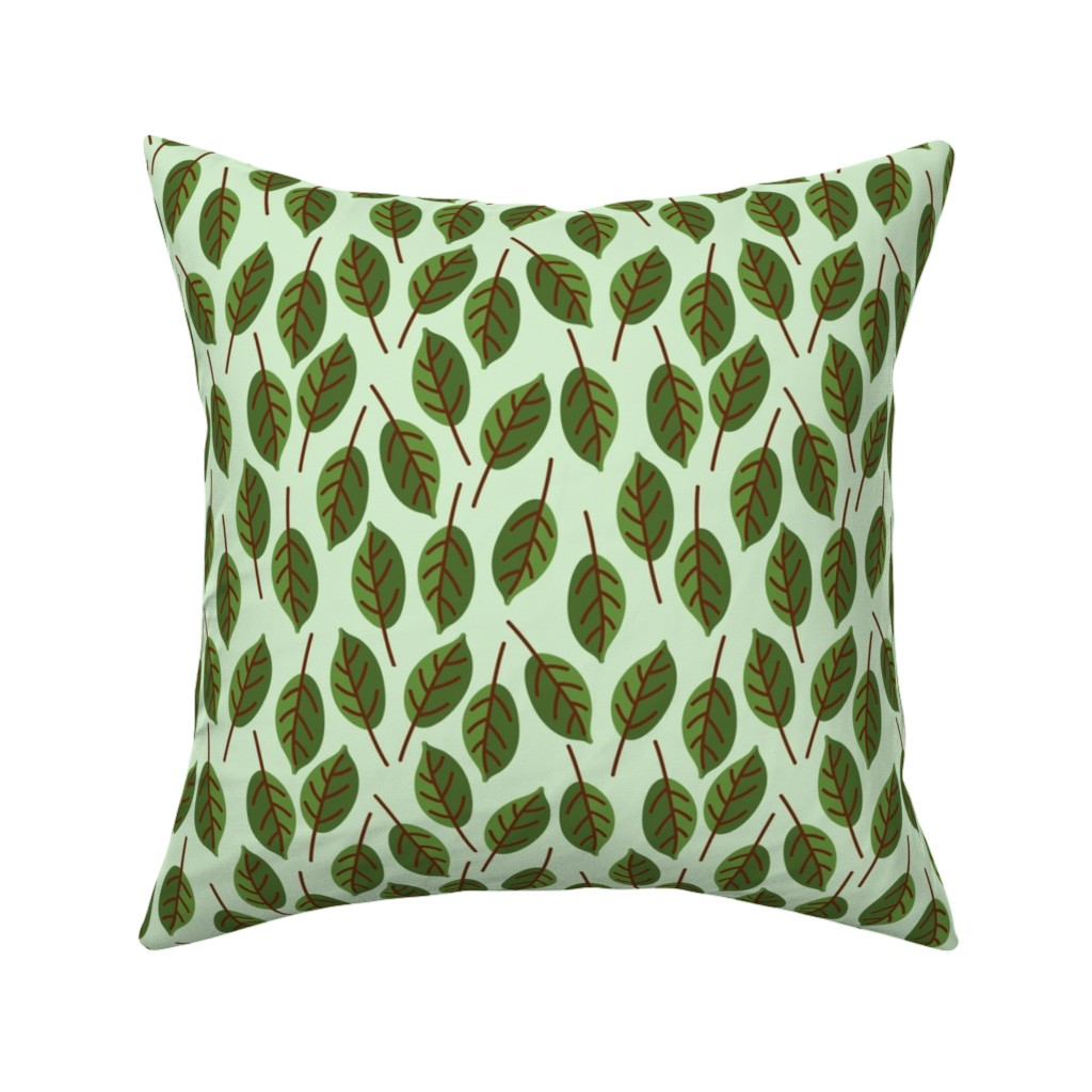 Catalan Throw Pillow featuring Trendy Green Brown Leaf Pattern by gypsea_art_designs