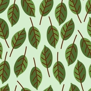 Trendy Green Brown Leaf Pattern
