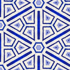 blue and off-white chinoiserie tile