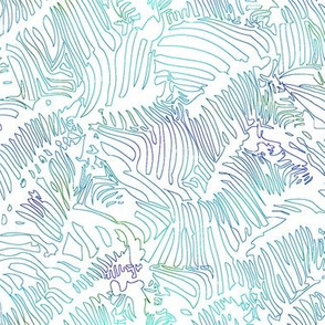Zebra Line Drawing Teal