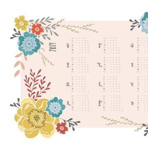 Vintage Floral 2020 Tea Towel Calendar white