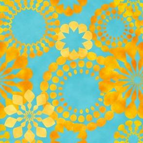 golden flowers on blue background