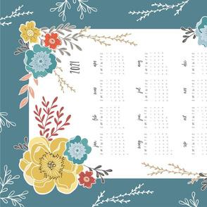 Teal Vintage Floral 2020 Tea Towel Calendar