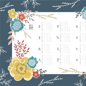 Navy Vintage Floral 2021 Tea Towel Calendar
