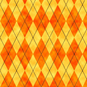 watercolor orange argyle