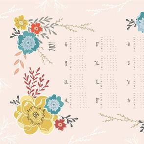 Sweet Vintage Floral 2021 Tea Towel Calendar