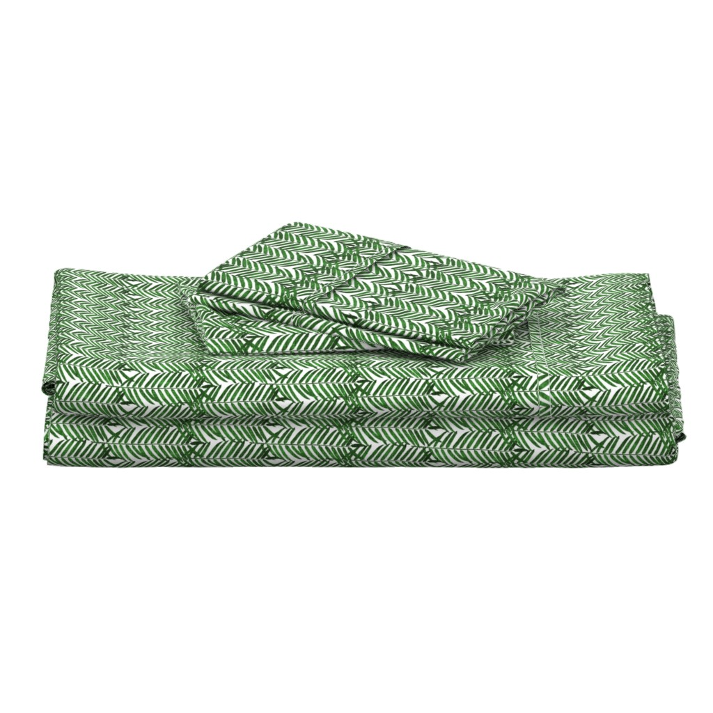 Langshan Full Bed Set featuring Luxe Palm Leaf (EMERALD) SML by nouveau_bohemian