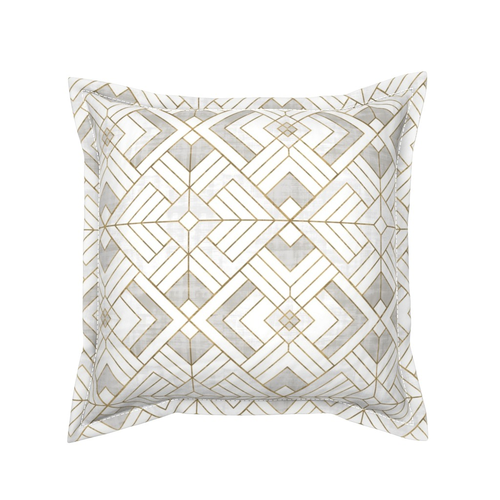 Serama Throw Pillow featuring Lennox Vintage Deco-white gold by crystal_walen