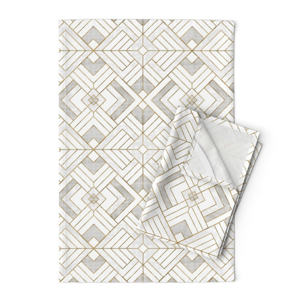 Orpington Tea Towels featuring Lennox Vintage Deco-white gold by crystal_walen