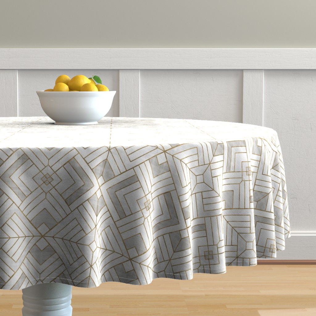Malay Round Tablecloth featuring Lennox Vintage Deco-white gold by crystal_walen