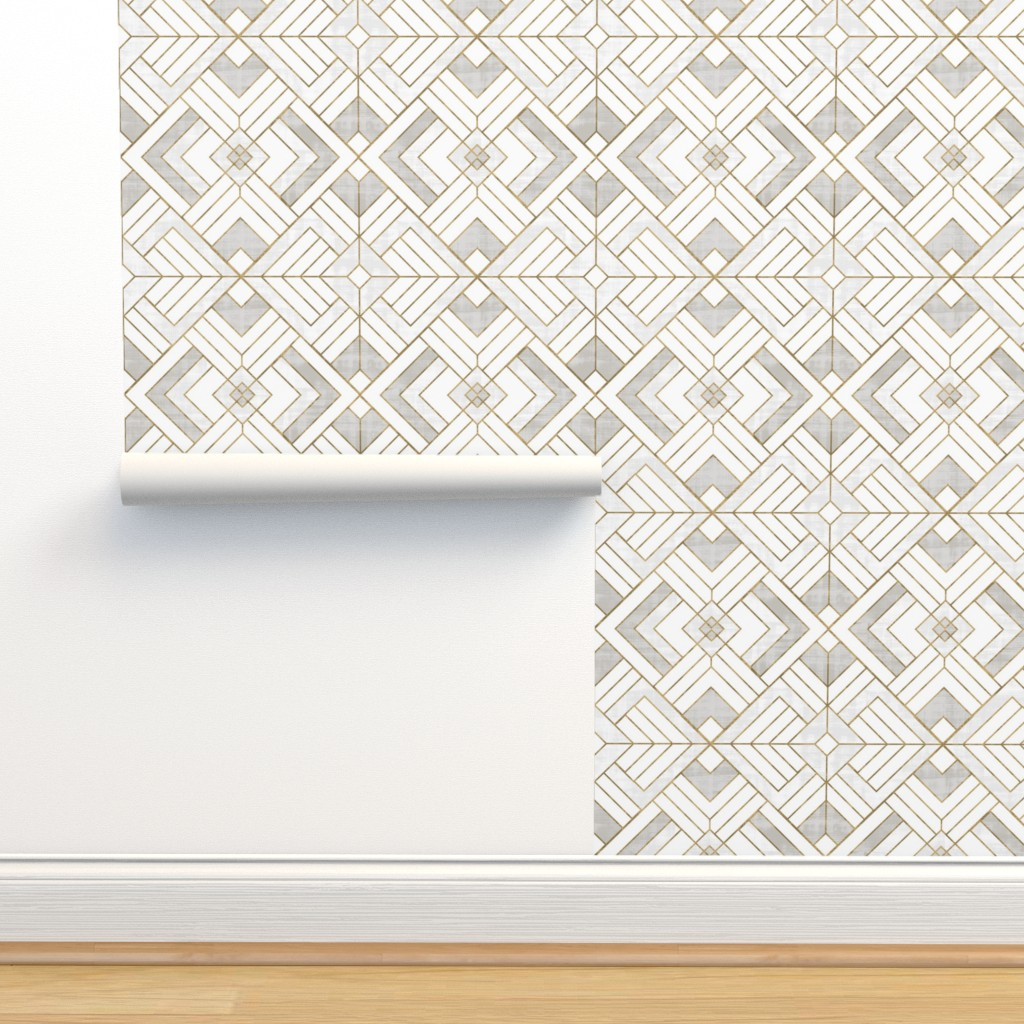 Isobar Durable Wallpaper featuring Lennox Vintage Deco-white gold by crystal_walen