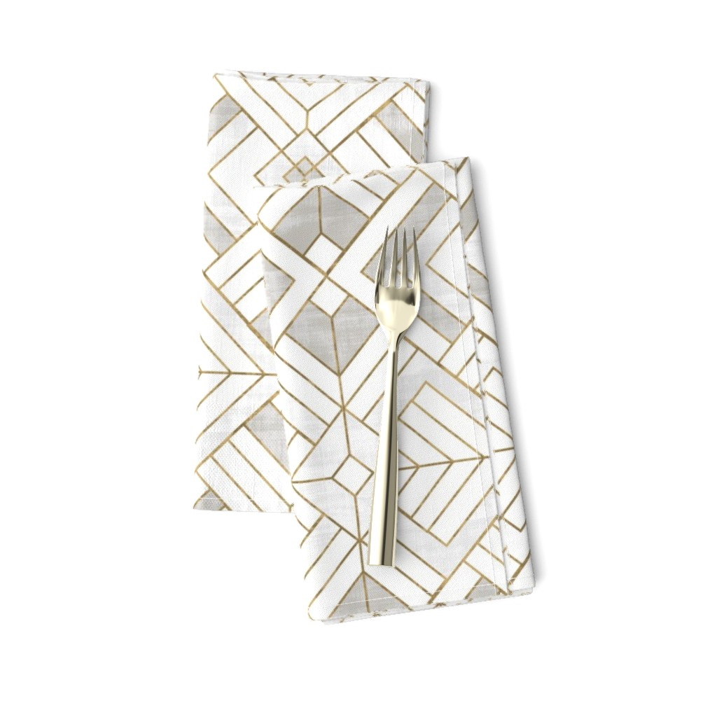 Amarela Dinner Napkins featuring Lennox Vintage Deco-white gold by crystal_walen
