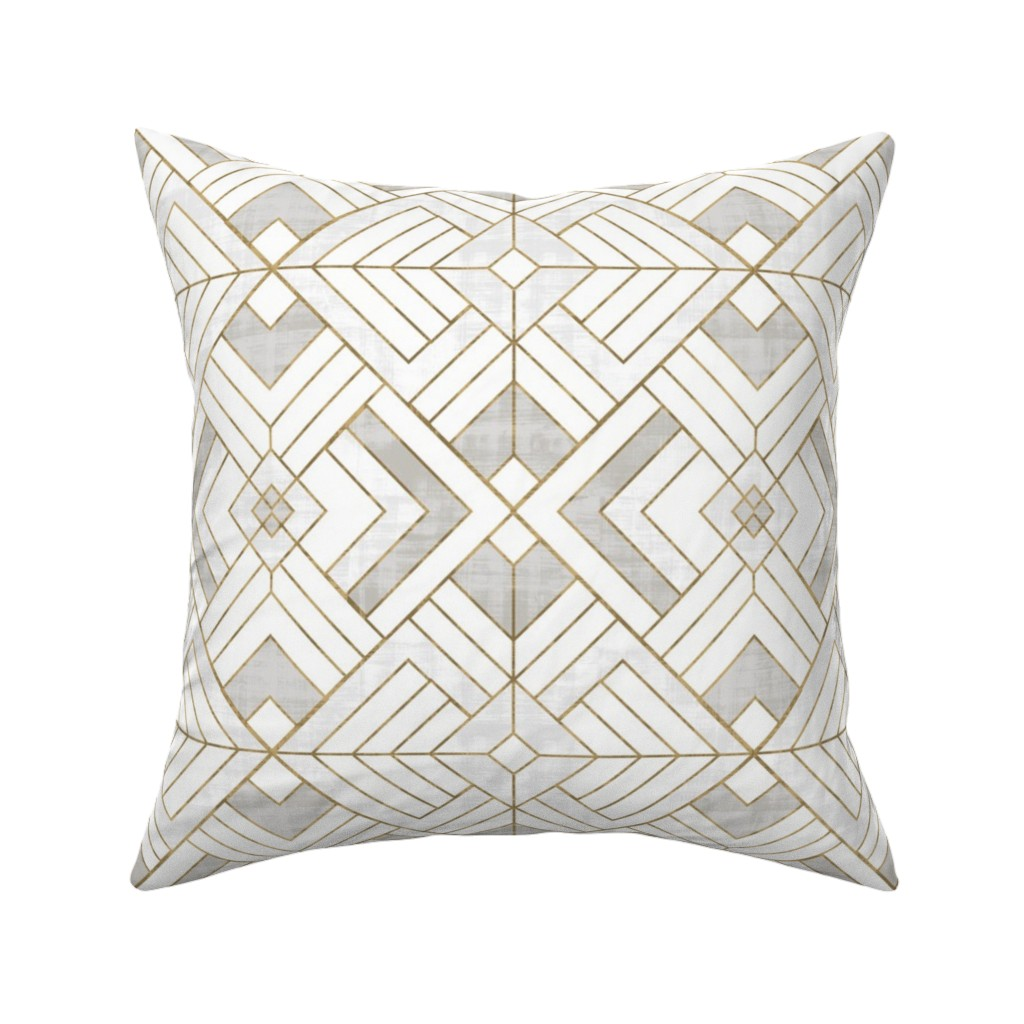 Catalan Throw Pillow featuring Lennox Vintage Deco-white gold by crystal_walen