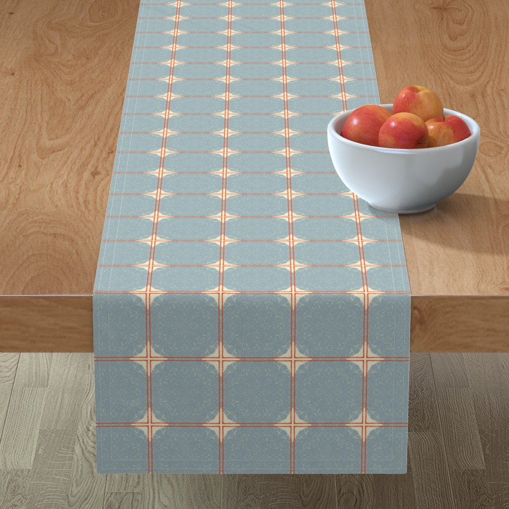 Minorca Table Runner featuring Dot Squares M+M Slate by Friztin by friztin
