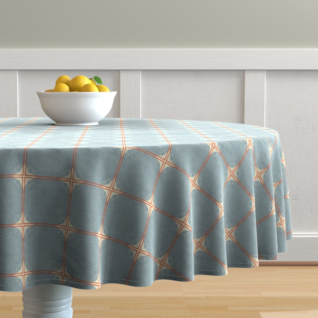 Malay Round Tablecloth featuring Dot Squares M+M Slate by Friztin by friztin