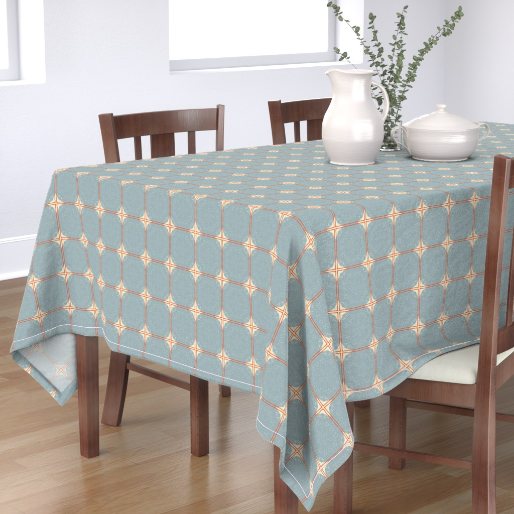 Bantam Rectangular Tablecloth featuring Dot Squares M+M Slate by Friztin by friztin
