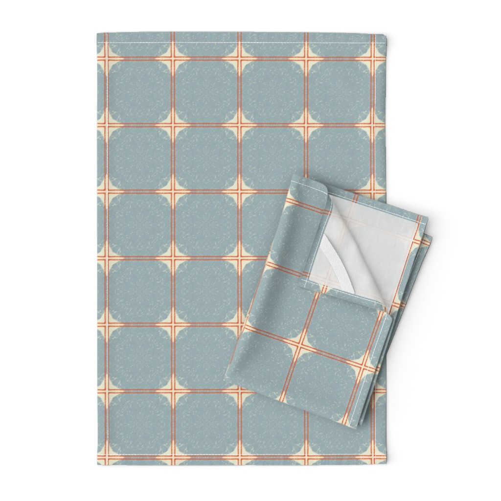 Orpington Tea Towels featuring Dot Squares M+M Slate by Friztin by friztin