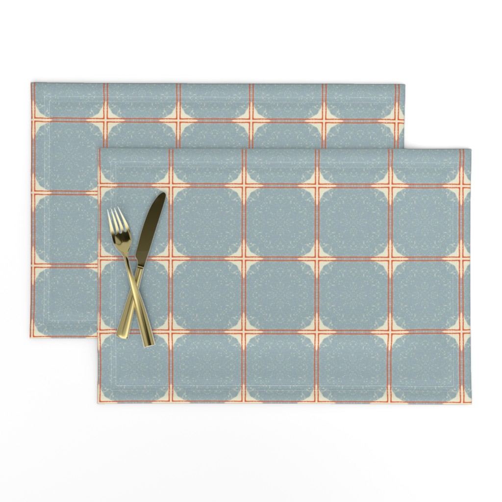Lamona Cloth Placemats featuring Dot Squares M+M Slate by Friztin by friztin