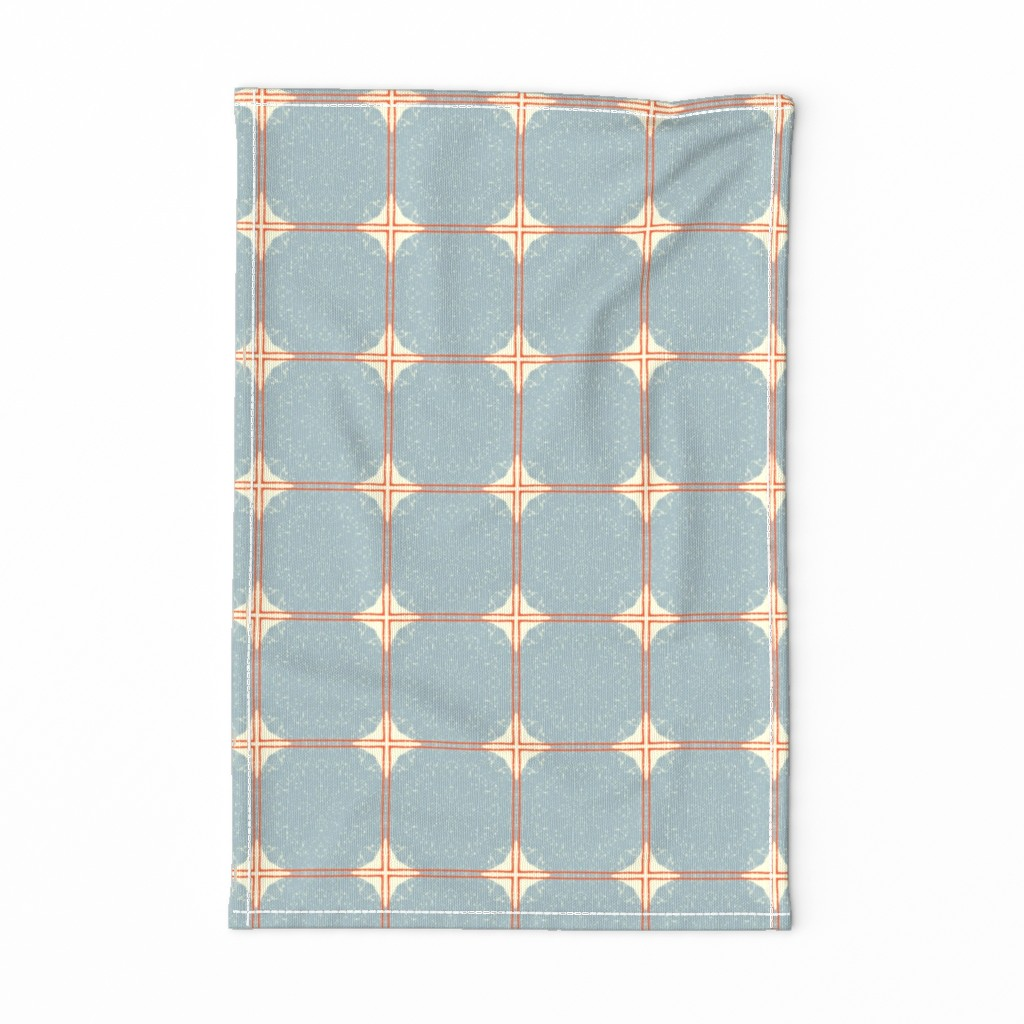 Special Edition Spoonflower Tea Towel featuring Dot Squares M+M Slate by Friztin by friztin