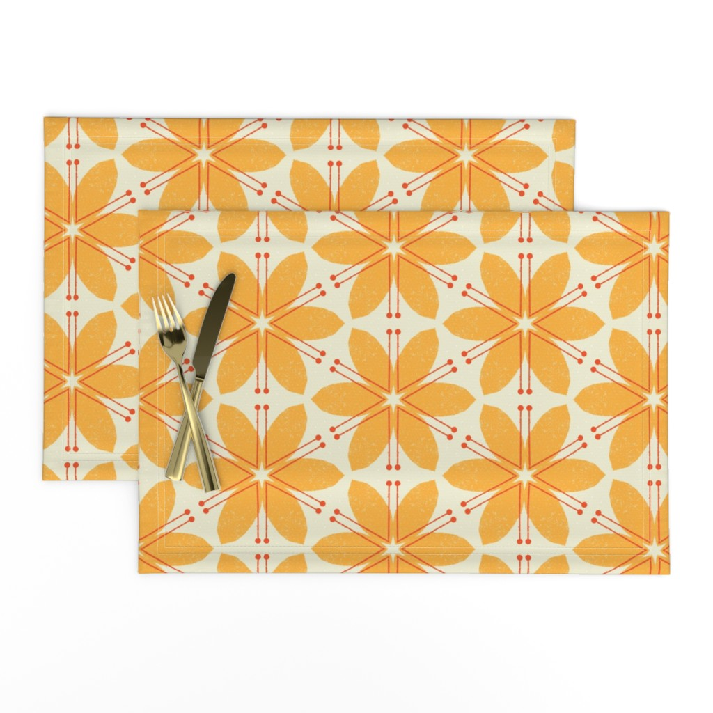 Lamona Cloth Placemats featuring Lilies M+M Honey by Friztin by friztin