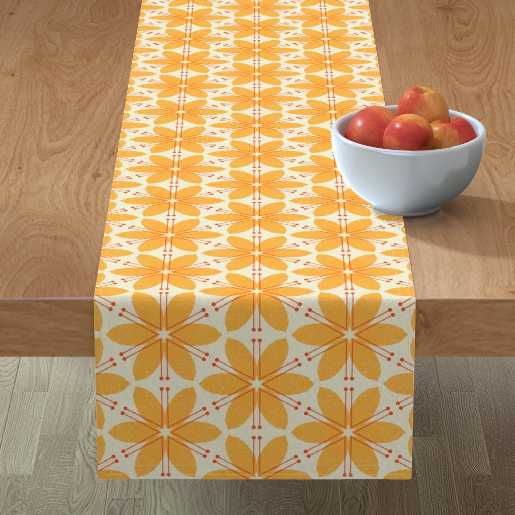 Minorca Table Runner featuring Lilies M+M Honey by Friztin by friztin