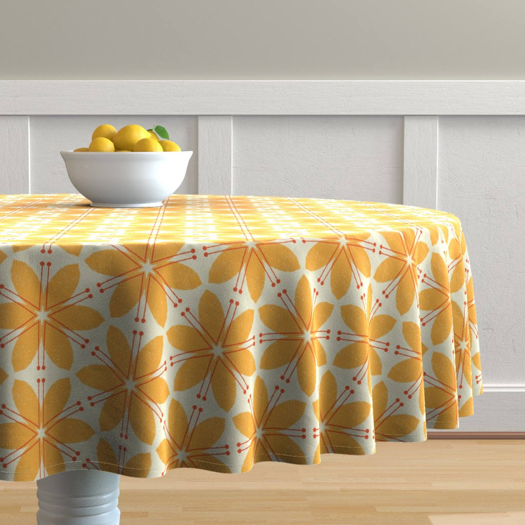 Malay Round Tablecloth featuring Lilies M+M Honey by Friztin by friztin