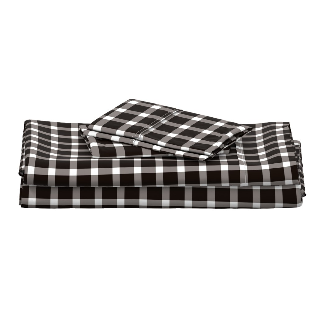 Langshan Full Bed Set featuring Buffalo Plaid // Black by the_artwerks