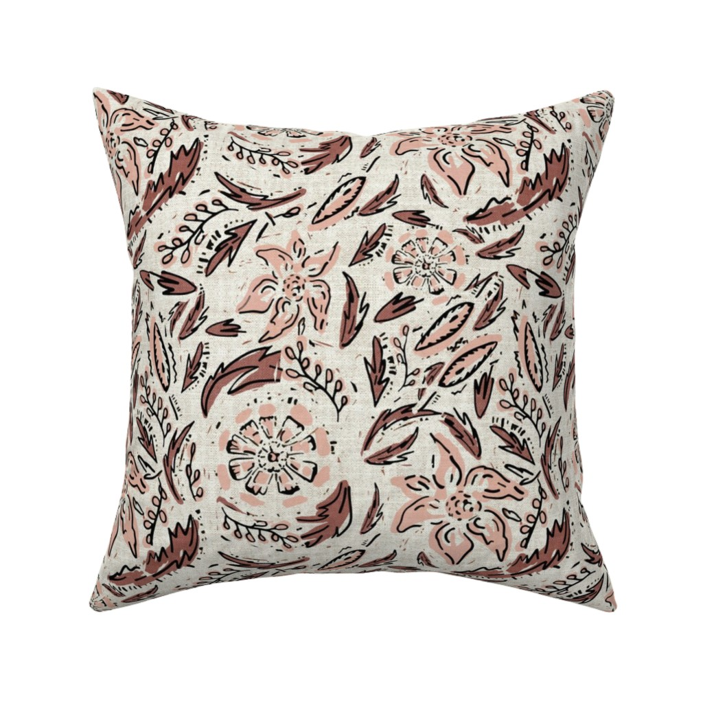 Catalan Throw Pillow featuring INDIE FLORAL by holli_zollinger