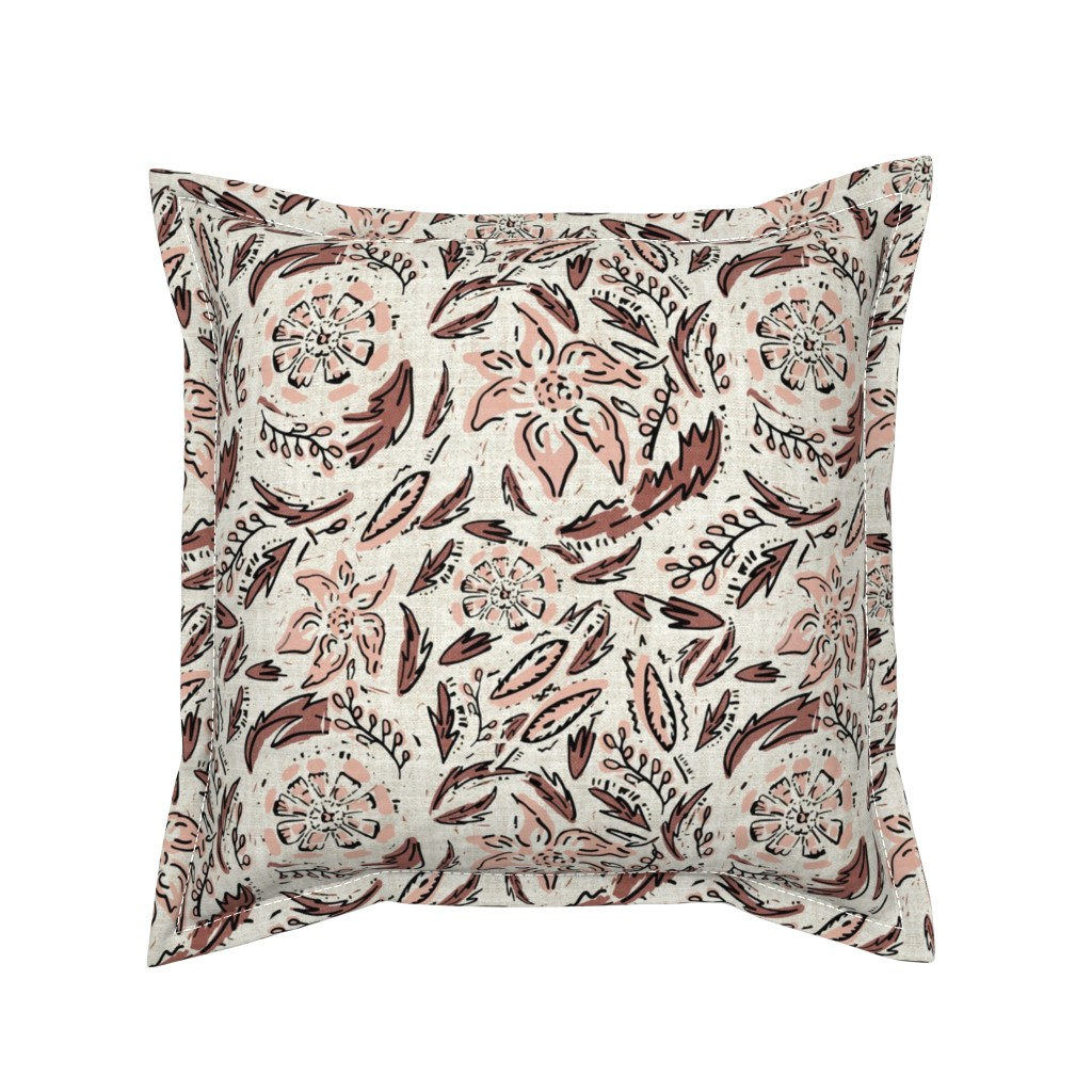 Serama Throw Pillow featuring INDIE FLORAL by holli_zollinger